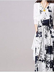Women's Daily Flower Spring Shirt Dress Suits,Floral Round Neck 3/4-Length Sleeve Micro-elastic