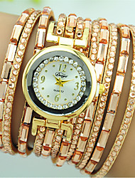 cheap -Women's Bracelet Watch Quartz Rhinestone Colorful Leather Band Casual White Blue Red Brown Pink Beige Rose