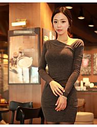 Damen Bodycon Kleid-Lässig/Alltäglich Solide Rundhalsausschnitt Mini Langarm Baumwolle Sommer Herbst Mittlere Hüfthöhe Mikro-elastisch