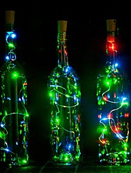 cheap -1PC 2m 20LED Cork Shaped LED Night Starry Light Copper Wire Stopper Wine Bottle Lamp Decoration Colorful