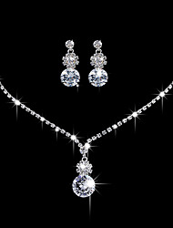 cheap -Women's AAA Cubic Zirconia Cubic Zirconia / Silver Jewelry Set - Elegant / Fashion Round Silver Drop Earrings / Choker Necklace / Bridal