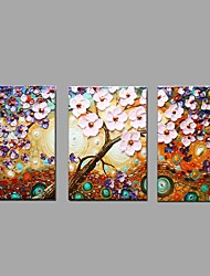 Hand Painted Oil Painting Modern Knife Lucky Flower Tree 3 Piece/set Wall Art with Stretched Framed Ready to Hang