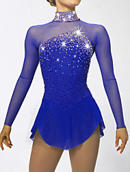 cheap -Figure Skating Dress Women's Girls' Ice Skating Dress Dark Blue Aquamarine Spandex Rhinestone Sequined High Elasticity Performance