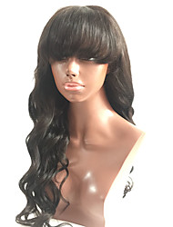 cheap -7a lace front human hair wigs with bangs malaysian virgin hair full fringe wig human hair glueless lace front wigs for black women