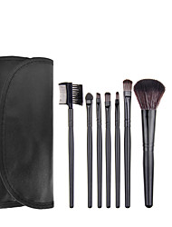 cheap -7pcs Black Makeup Brush Set Blush Brush Eyeshadow Brush Eyeliner Brush Eyelash Brush dyeing Brush Powder Brush Sponge Applicator Synthetic Hair