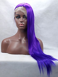 cheap -Silky Long Straight Purple Fiber Hair Half Hand Tied Heat Resistant Synthetic Lace Front Wigs Free Shipping