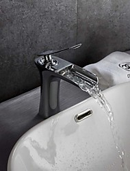 cheap -Contemporary Art Deco/Retro Modern Deck Mounted Waterfall Thermostatic Ceramic Valve Single Handle One Hole Chrome, Bathroom Sink Faucet