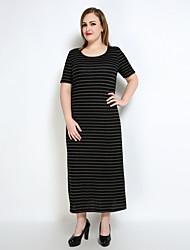 cheap -Really Love Women's Plus Size Vintage Shift T Shirt Tunic Dress - Striped Split Maxi