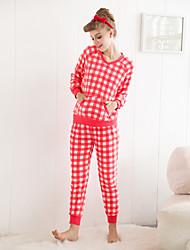 Klasický styl o krk placka flanelová pyžama set