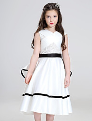 cheap -Ball Gown Knee Length Flower Girl Dress - Organza with Ruffles by YDN