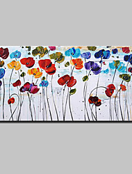 cheap -Hand-Painted Floral/Botanical Horizontal, Modern European Style Canvas Oil Painting Home Decoration One Panel