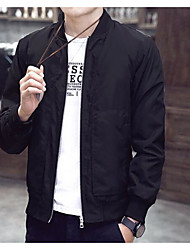 Men's Casual/Daily Simple Spring Summer Fall Jacket,Solid Round Neck Long Sleeve Regular Polyester