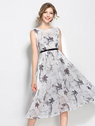 SUOQI Women Dresses Round Neck Sleeveless Knee-length Dress White Chinoiserie Ink print Summer Swing Dress