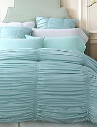Solid 4 Piece Silk Cotton Pleated Silk Cotton 1pc Duvet Cover 2pcs Shams 1pc Flat Sheet