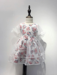 cheap -Girl's Dress, Cotton Summer Floral Blushing Pink