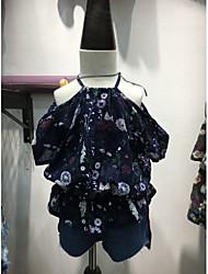 cheap -Girls' Blouse, Cotton Summer Short Sleeves Blue