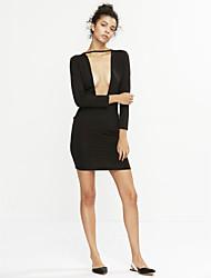 Dámské Sexy Klub Bodycon Šaty Jednobarevné,Dlouhý rukáv Do V Midi Polyester Jaro Low Rise Lehce elastické Tenké