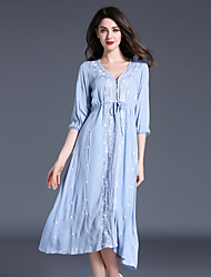 Maxlindy Women's Going out Casual/Daily Party Vintage Street chic Sophisticated Patchwork V Neck Linen Polyester Loose Dress