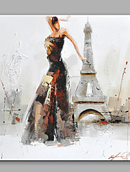 cheap -Abstract Oil Painting The Beautiful Girl Dancing Before The Eiffel Tower Framed Handmade Oil Painting For Home Decoration
