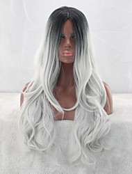 cheap -Synthetic Wig Wavy Asymmetrical Haircut Synthetic Hair Natural Hairline White Wig Women's Long Capless