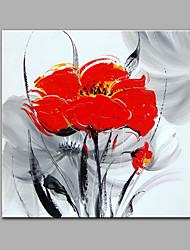 Недорогие -Ручная роспись Цветочные мотивы/ботаническийСовременный 1 панель Hang-роспись маслом For Украшение дома