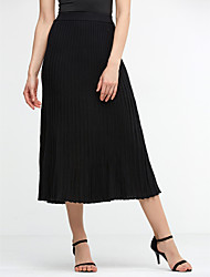 cheap -Women's Classic & Timeless Swing Skirts - Solid Colored