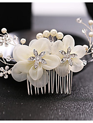 Rhinestone Tulle Alloy Imitation Pearl Headpiece-Wedding Special Occasion Hair Combs 1 Piece