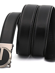 Men's Simple Circular Black Genuine Leather Alloy Automatic Buckle Waist Belt Work/Casual/Party All Seasons