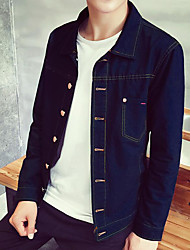 Недорогие -Для мужчин На каждый день Осень Джинсовая куртка Рубашечный воротник,Простой Однотонный Обычная Длинный рукав