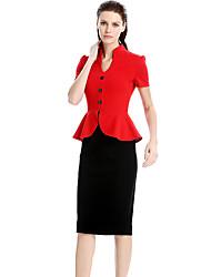 Womens Elegant Ruffles Button Peplum Vintage Casual Wear To Work Office Business Party Bodycon Pencil Sheath Dress D0498