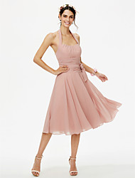 cheap -A-Line Halter Knee Length Chiffon Bridesmaid Dress with Bow(s) Sash / Ribbon Pleats Ruched by LAN TING BRIDE®
