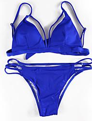 cheap -Women's new  Bikini lace up  Swimwear Polyester  blue black Swimsuit