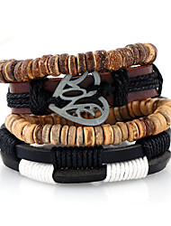 New Leather Woven Alloy Pierced Heart-Shaped Accessories Multi Layer Bracelet