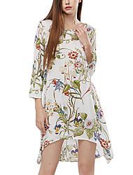 Women's Going out Beach Party Boho Chiffon Dress,Floral Round Neck Asymmetrical Long Sleeve Polyester Chiffon Summer High Rise