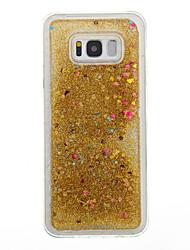 Недорогие -Кейс для Назначение SSamsung Galaxy S8 Plus S8 Движущаяся жидкость Прозрачный С узором Задняя крышка С сердцем Прозрачный Сияние и блеск