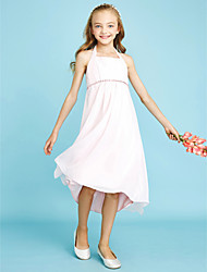 cheap -Sheath / Column Halter Asymmetrical Chiffon Junior Bridesmaid Dress with Beading Bow(s) by LAN TING BRIDE®