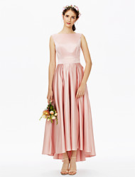 cheap -A-Line Bateau Neck Asymmetrical Satin Bridesmaid Dress with Sash / Ribbon Pleats by LAN TING BRIDE®