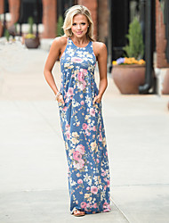 cheap -Women's Daily Going out Street chic Sheath Dress,Floral U Neck Maxi Sleeveless Polyester Spandex Summer High Rise Micro-elastic Thin