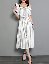 Women's Beach Party & Evening Dress Vintage Street chic Slim Thin A Line Dress Striped Boat Neck Midi Short Sleeve Cotton /Linen Summer
