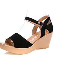 Women's Sandals Club Shoes Leather Summer Casual Wedge Heel Pool Green Black 2in-2 3/4in