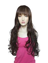 cheap -Capless Long Deep Wavy  Brown Synthetic Fiber Wig Heat Resistant Wig