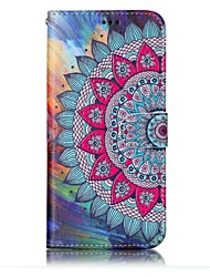cheap -For Samsung Galaxy S8 S8 Plus Case Cover Half Flower Pattern Shine Relief PU Material Card Stent Wallet Phone Case S7 S6 S7 S6 Edge