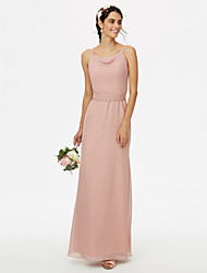 Sheath / Column Spaghetti Straps Floor Length Chiffon Bridesmaid Dress with Bow(s) Sash / Ribbon by LAN TING BRIDE®