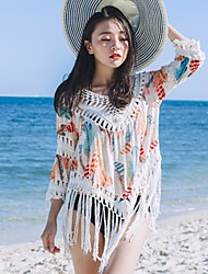 Women's Daily Casual Going out Street Sexy Vintage Simple All Seasons Summer T-shirt,Feathers Round Neck 3/4 Length SleeveCotton Rayon