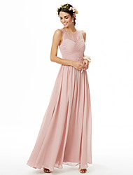 A-Line Jewel Neck Floor Length Chiffon Lace Bridesmaid Dress with Lace Criss Cross Ruching Pleats by LAN TING BRIDE®