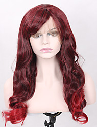 cheap -Fashion Long Wavy Burgundy Wig Natural Good Looking Burgundy Fiber Hair Heat Resistant Synthetic Lace Front Wigs Highlight Red Hair Tip Wig