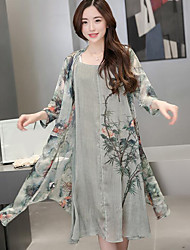 cheap -Women's Daily Casual Summer Blouse Dress Suits,Print Round Neck Long Sleeve 70%Wool30%Cotton Micro-elastic