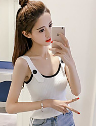 Women's Casual/Daily Simple Summer Polo,Solid Strap Sleeveless Acrylic