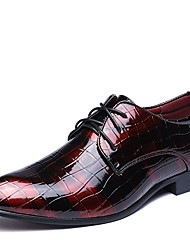 cheap -Men's Formal Shoes Leather Spring / Fall Fashion Boots / Formal Shoes Oxfords Walking Shoes Black / Red / Blue / Wedding / Party & Evening / Printed Oxfords