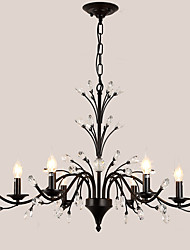 cheap -LightMyself 6 Lights Crystal Chandelier Modern/Contemporary Traditional/Classic Tiffany Vintage Retro Country Painting Feature for Living Room
